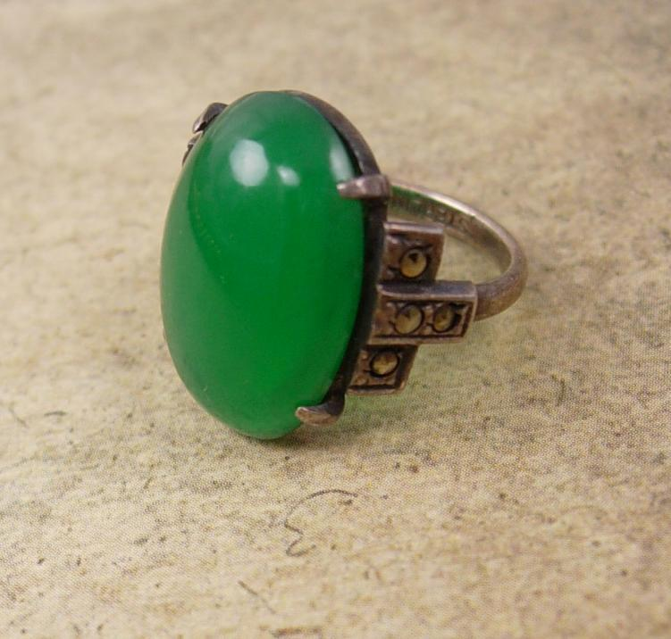 Antique Chrysoprase sterling deco ring with marcasites Stone of Venus