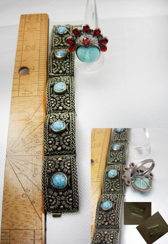 Fabulous Vintage Etruscan Bracelet Goddess Garnet ring Turquoise hallmarked