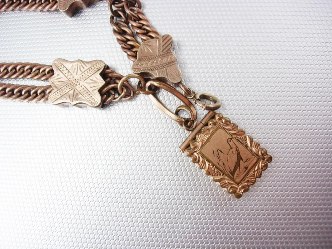 GREAT old  Antique Rose gold Locket Bracelet watch fob figural bird