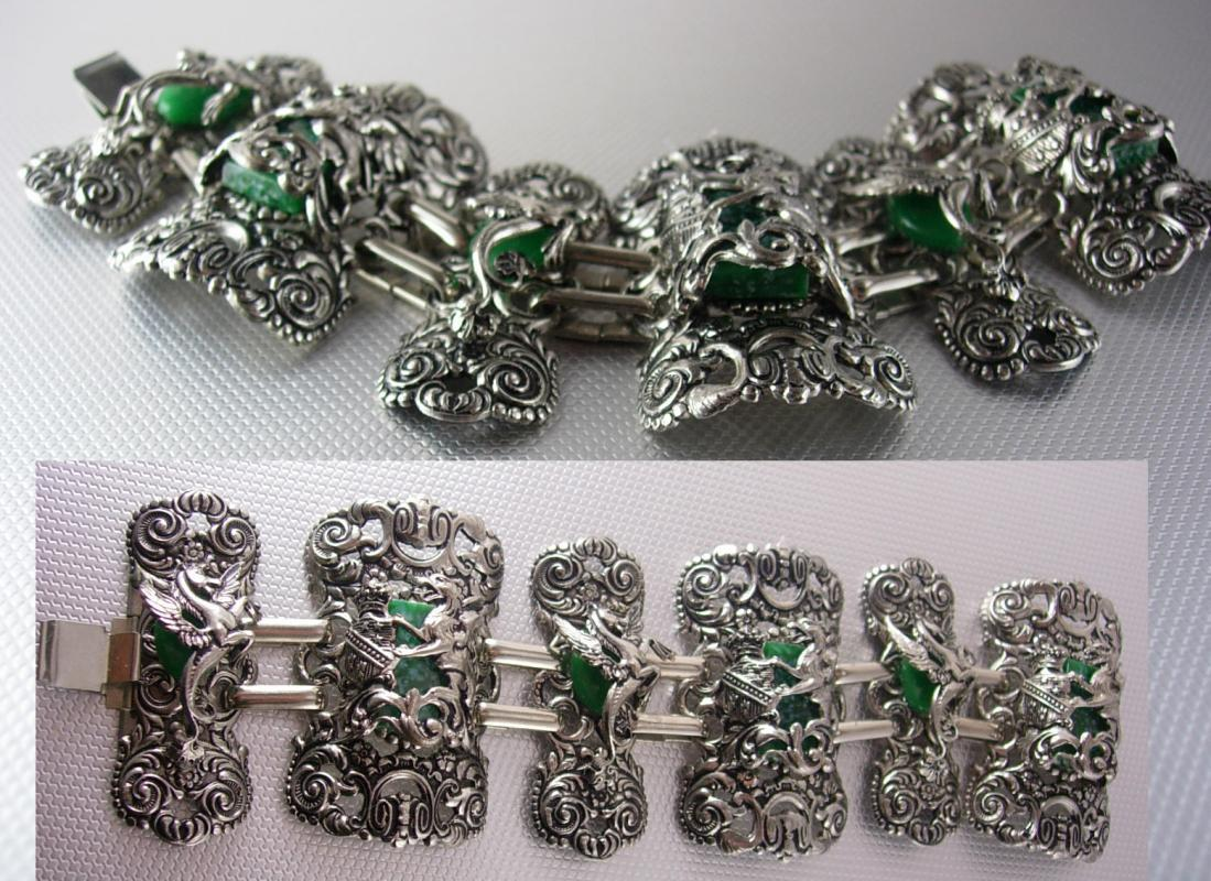 FABULOUS Dragon Pegasus Huge Bracelet Jade stones Mythology