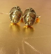 Antique French ATALA Cufflinks Victorian rose gold filled Art Nouveau Indian figural woman