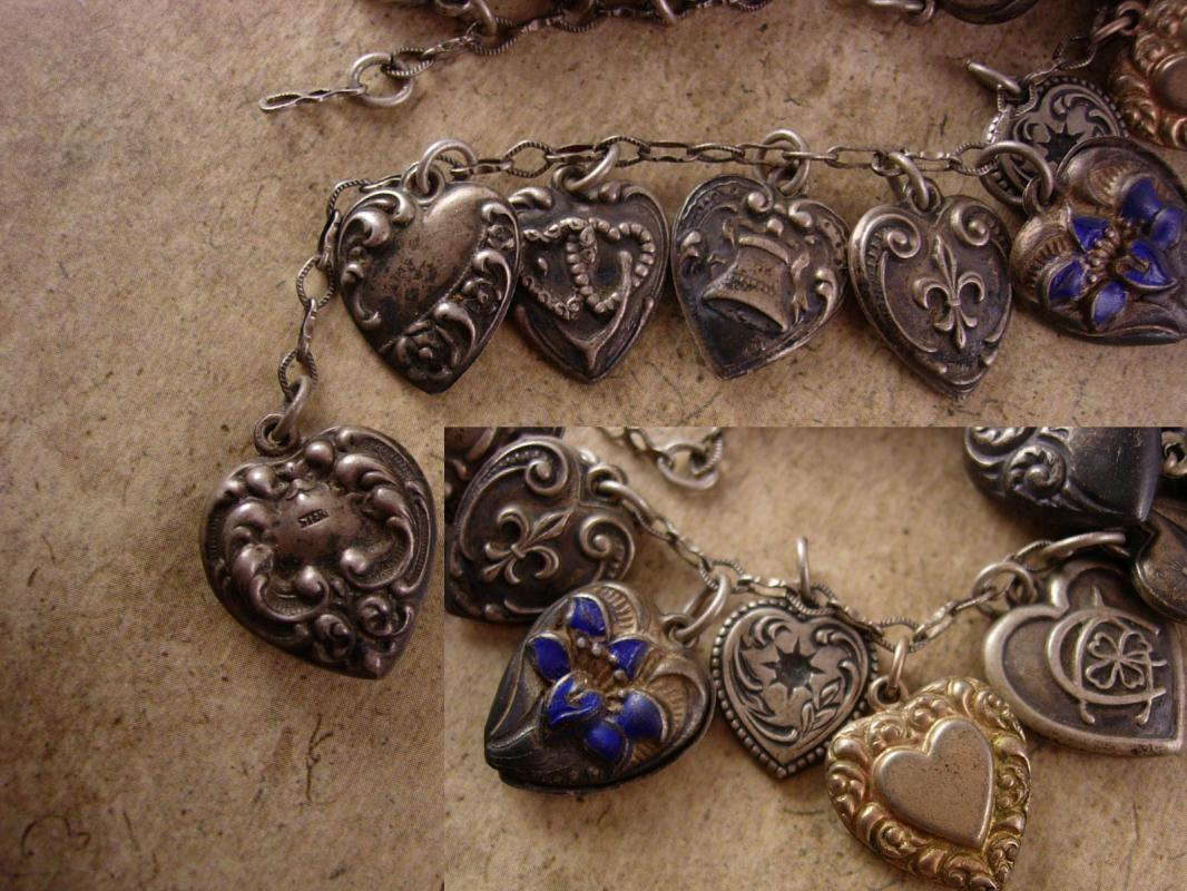 Antique 18 PUFFY Heart Charm bracelet Sterling charms sweetheart enamel and more