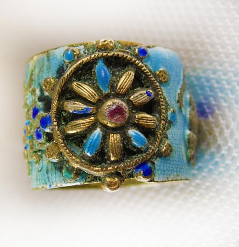 Antique Chinese enamel Ring Octopus flower wide band