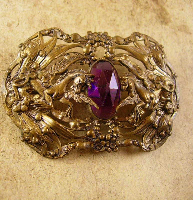 Antique Pegasus Amethyst Sash pin  Mythical Winged horse brooch