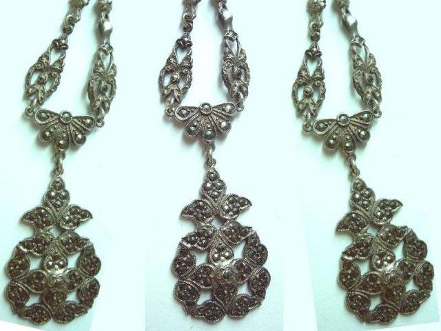 Vintage STERLING Marcasite DECO necklace