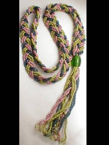 vintage Glass Flapper  color tassle Necklace
