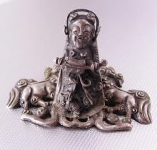 Antique Guan Yu Chinese Shrine 18th century foo dog alter statue