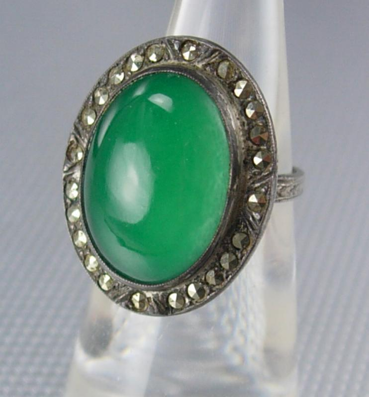 Antique Stone of Venus Chrysoprase Ring  sterling deco marcasites