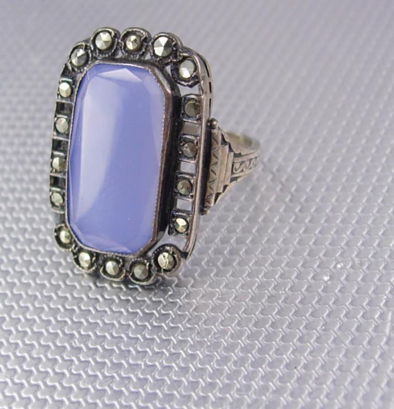 Antique Lavender Chalcedony sterling ring marcasite lilac stone spiritual talisman