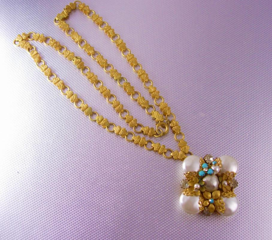 Edwardian Bookchain Necklace huge baroque pearl turquoise filigree pendant