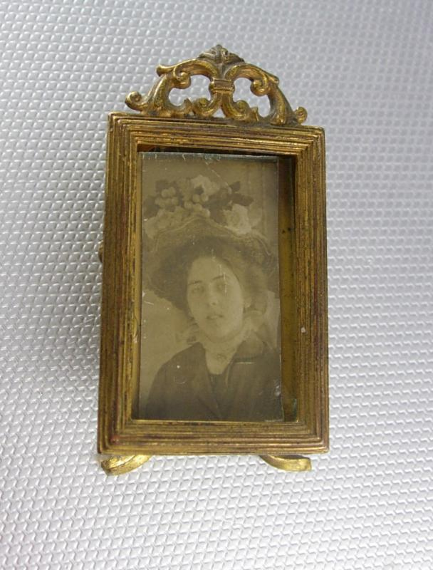 Miniature Antique Victorian Frame & stand with Photo and glass