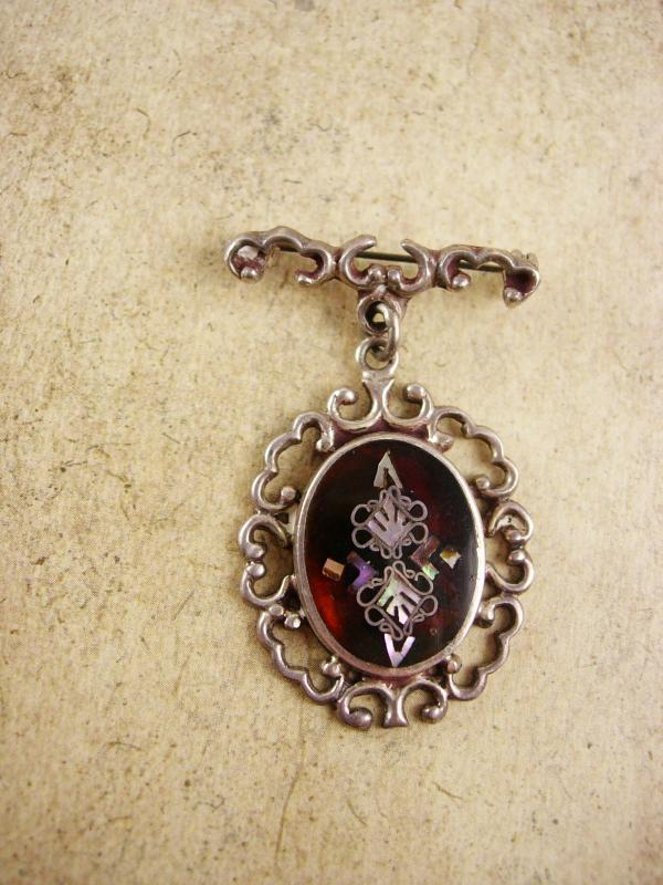 Victorian Tortoise MOP Pietra dura Brooch sterling chandelier signed PGG mexico
