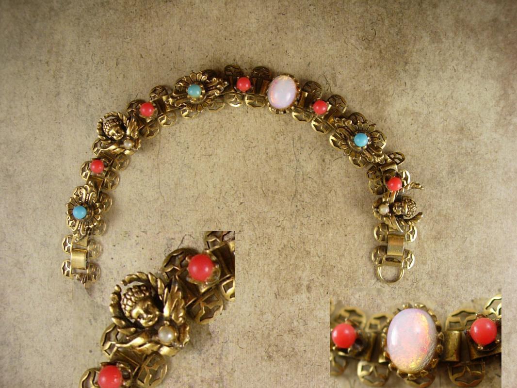 Antique Bookchain Victorian bracelet Cherubs opals pearl coral turquoise