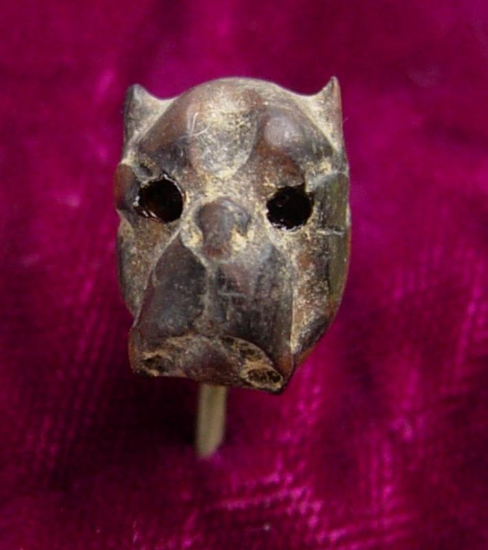 Antique Victorian Bulldog Stickpin Bog oak Enamel eyes