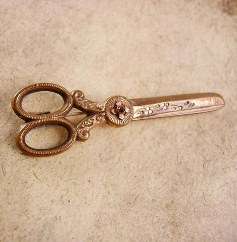Victorian Garnet Scissors Brooch One of a kind C clasp