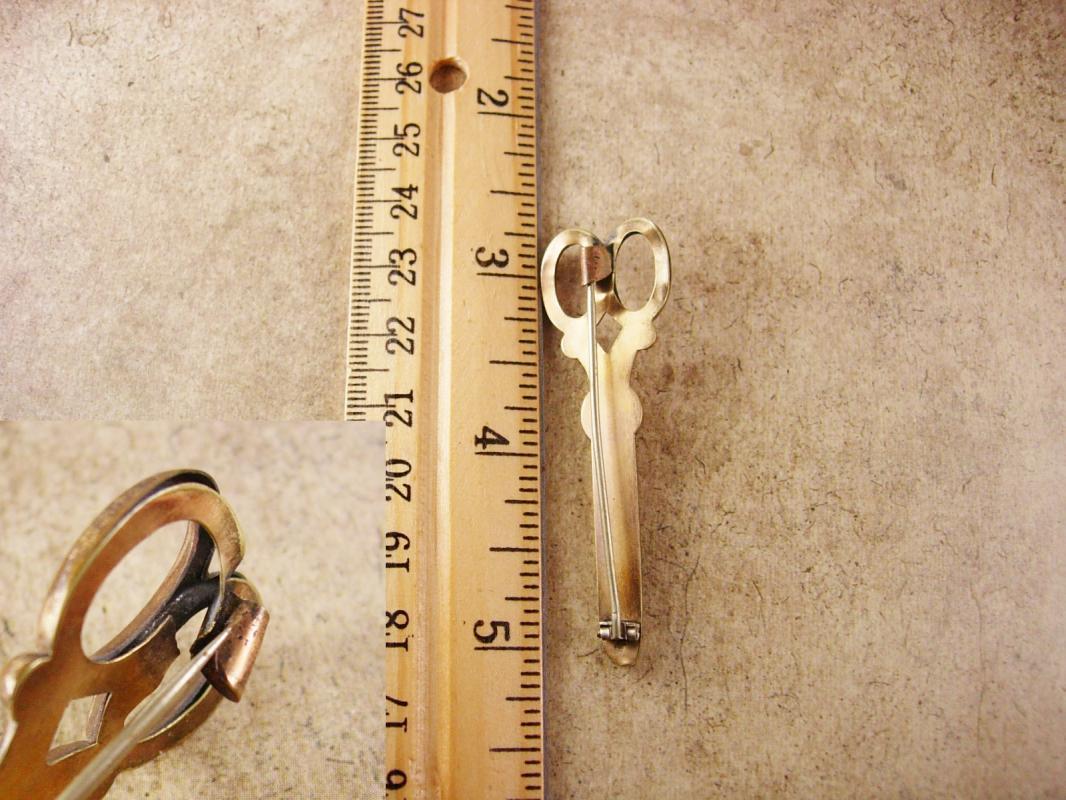Victorian Garnet Scissors Brooch One of a kind C clasp