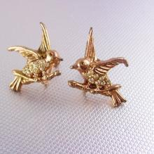 Vintage Rhinestone Bird Earrings rose gold plate screw back