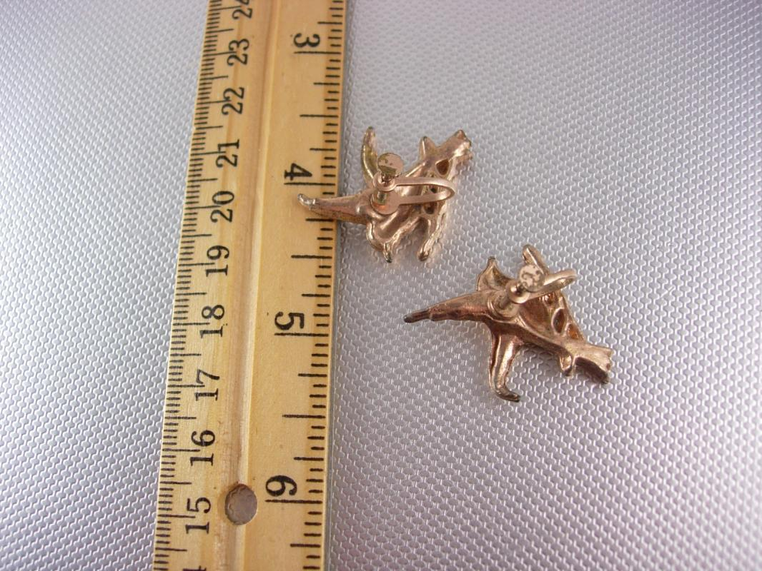 Vintage Rhinestone Bird Earrings rose gold plate screw back