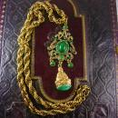 Vintage Chinese Buddha Fob Necklace Chandelier Emerald green stones