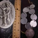 French Fob Bracelet Eiffel Tower Infant of prague medals Minerva Italy  Art deco coins