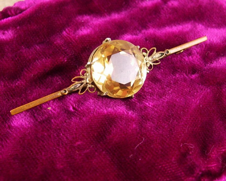 Huge Victorian Citrine Brooch loaded with facets C Clasp