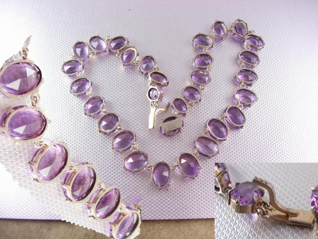 GORGEOUS Amethyst Deco Necklace sterling with open backs and HUGE stones