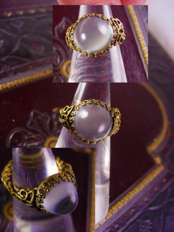 Vintage huge Moonstone West Germany Ring fancy setting size 6 to 7