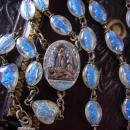 RARE Lourdes Holy Water Rosary with tiny statues in each bead Sacred Heart