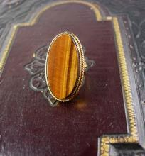 Vintage Large Tigereye 12kt gf Ring signed size 4 1/2