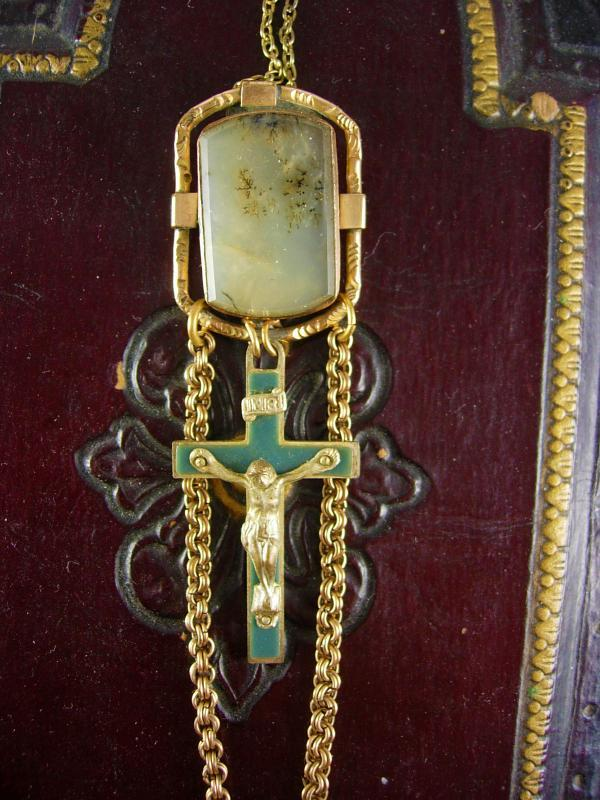 Antique Victorian Moss Agate Rosary Necklace Watch chain gold filled