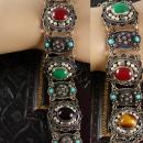 Antique 950 Silver Victorian bracelet etruscan pearls semiprecious stones