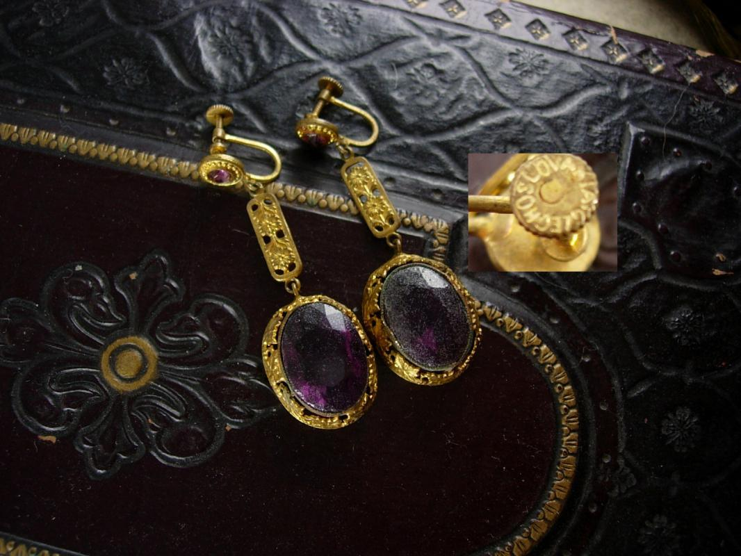 Antique Signed Czech Purple Earrings long chandelier screw on huge stones