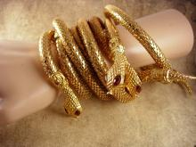 Vintage Snake Parure Bracelet necklace belt rhinestone eyes Egyptian goddess