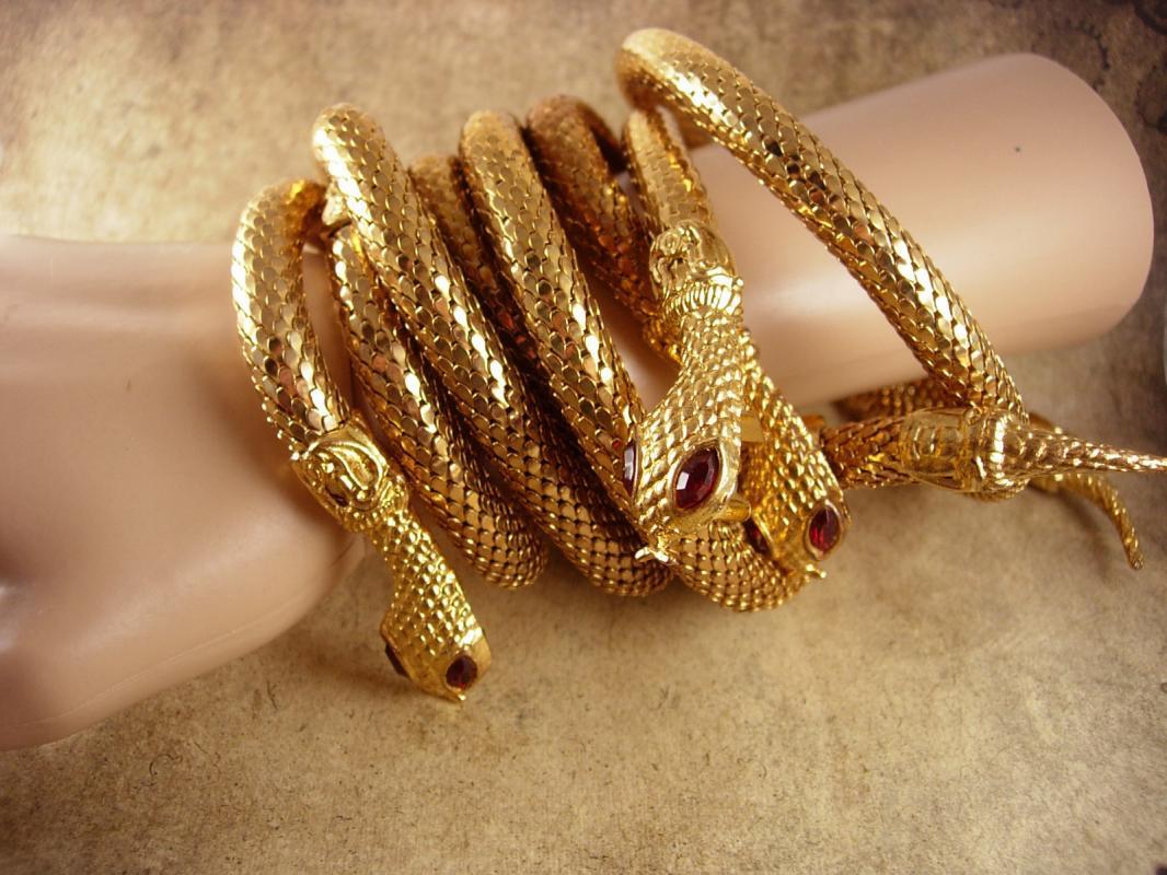 Vintage Snake Parure Bracelet necklace belt rhinestone eyes Egyptian goddess