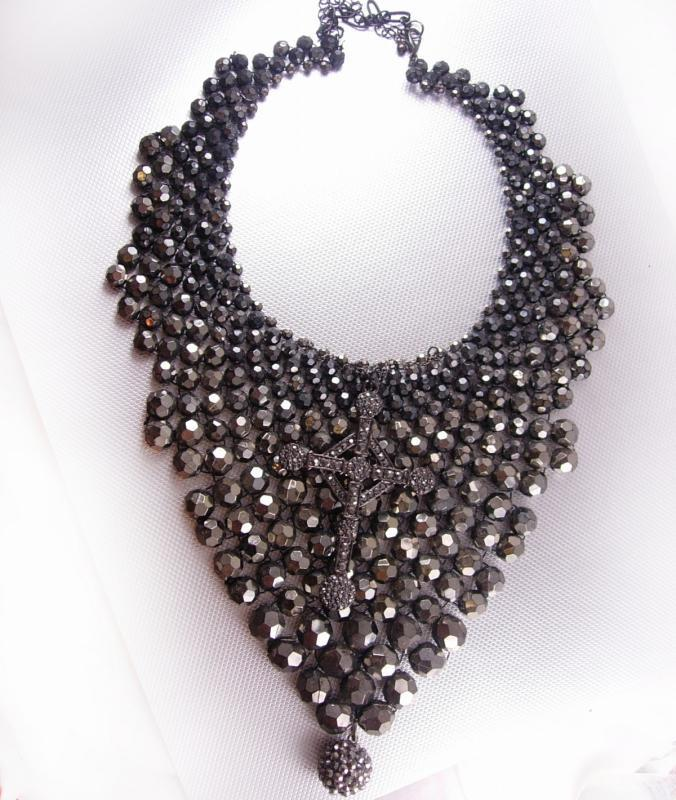 Hauntingly Dark Marcasite Cross Bib necklace Huge Gothic statement piece