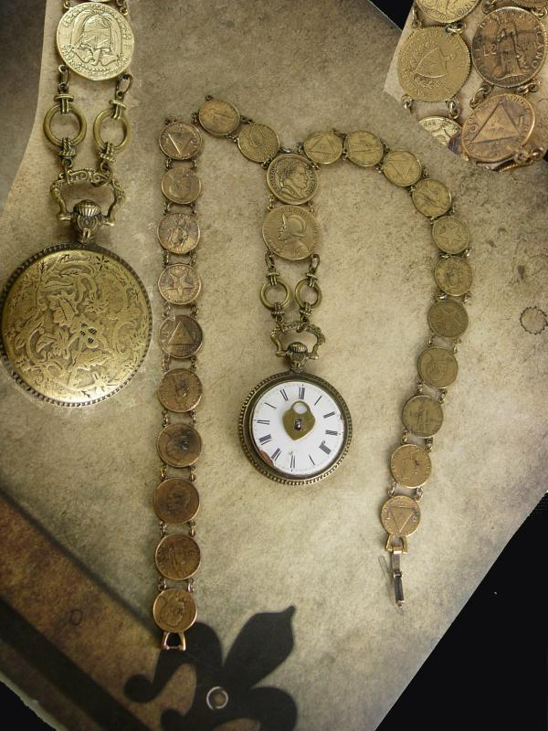French Pocketwatch Fob Necklace napoleon coins Antique face