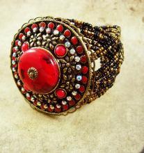 Fiery RED HUGE gypsy cuff bracelet bohemian rhinestones