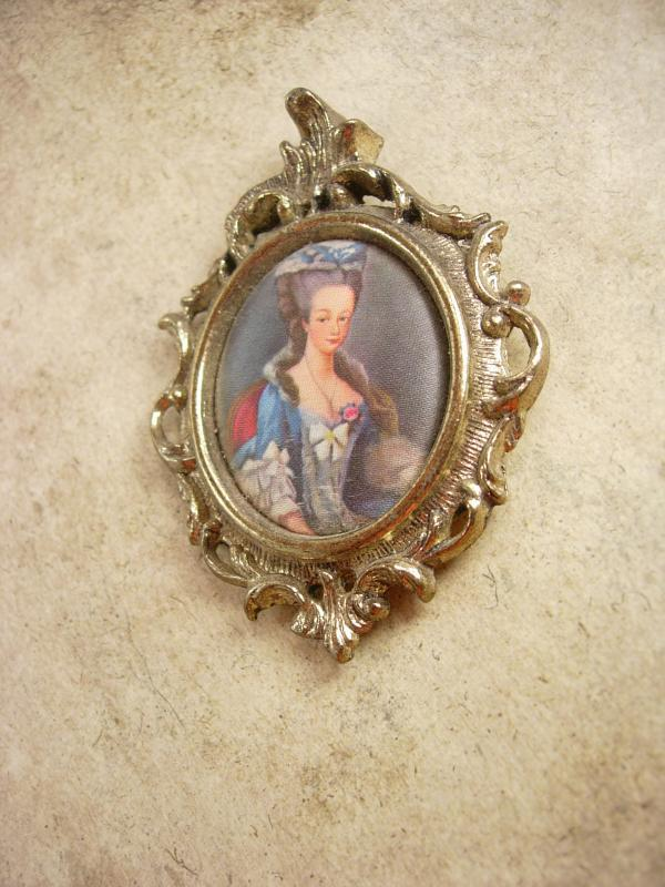 Vintage Marie Antoinette Silk Miniature Frame French Queen