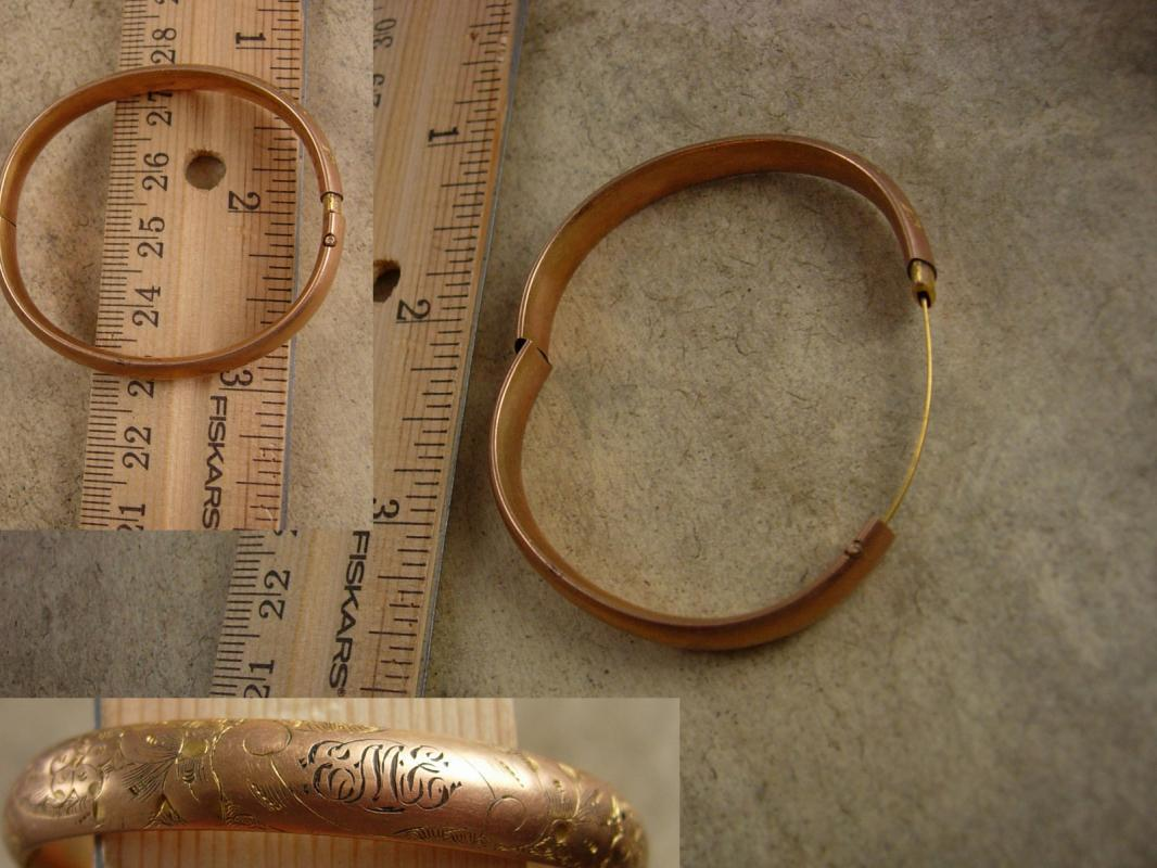 Antique Baby Victorian Bracelet EME initials gold filled bangle TINY