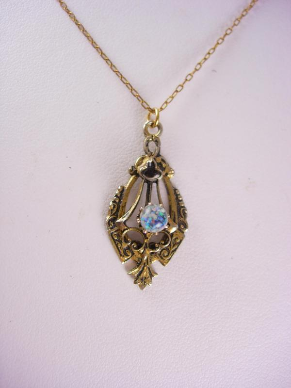Art deco Floating Opal Necklace pendant Mystical Queen of Gems