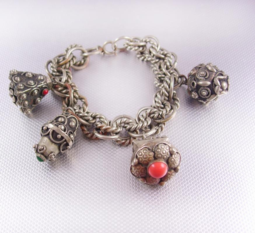 Vintage Egyptian Revival Etruscan charm bracelet HUGE fobs ornate detail
