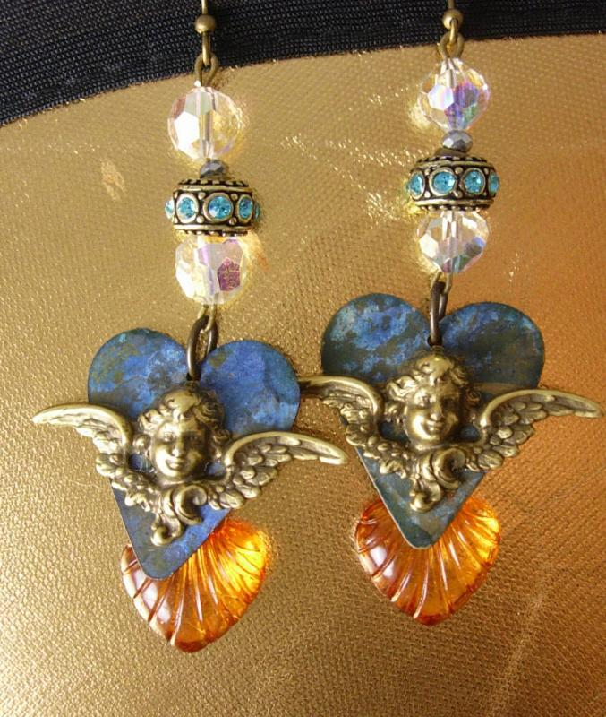 Victorian Cherub Heart earrings Dangle assemblage