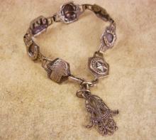 Vintage deco period Hamsa Bracelet Amulet hand scarab star elephant fob charm