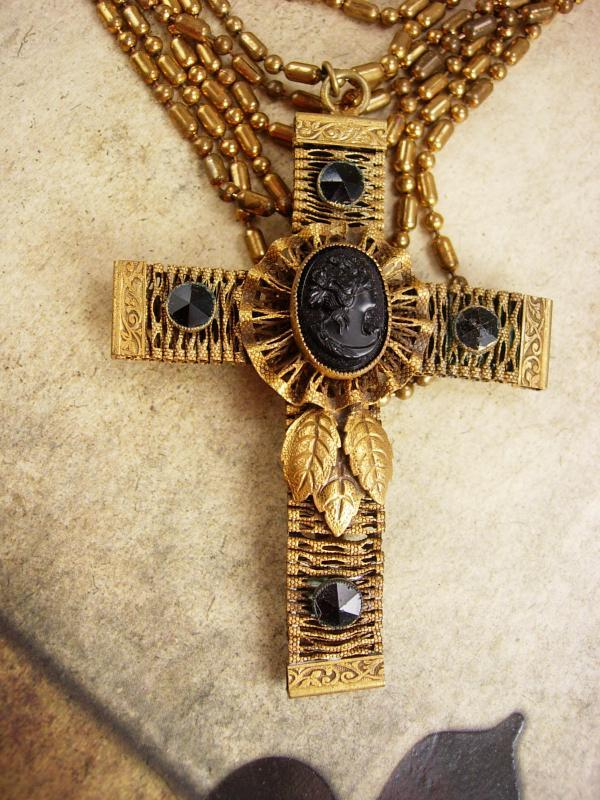 Antique Jet Cameo Cross Necklace Gothic baroque statement victorian mourning choker