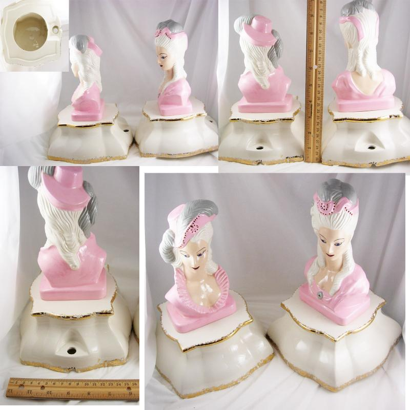 Vintage PINK Marie Antoinette Lamps statues signed french queen
