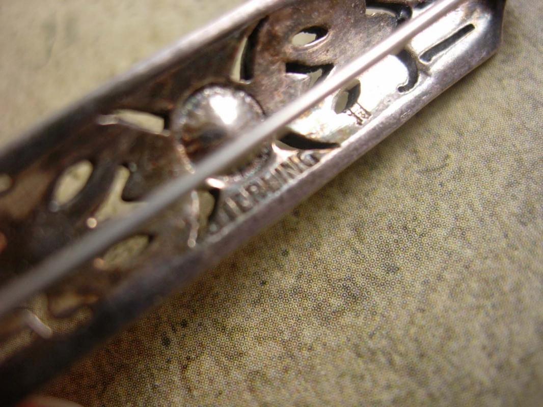 Vintage sterling pearl marcasite Brooch Art deco