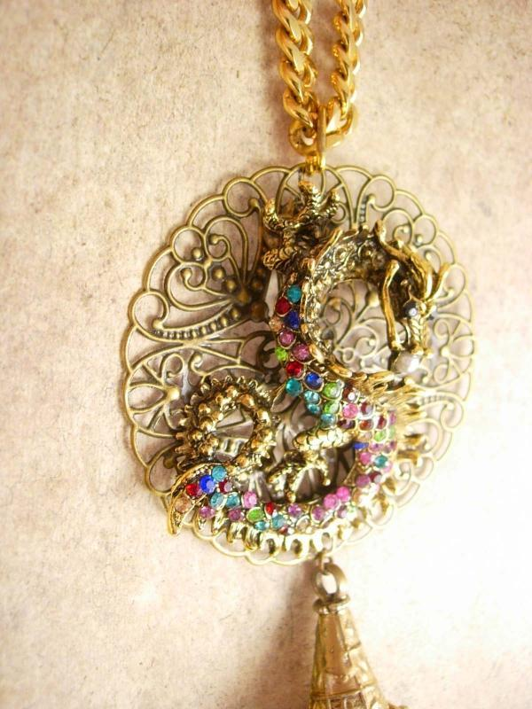 Chinese Rhinestone Dragon necklace with Tassel Statement necklace