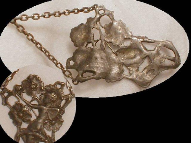 Antique Cherub Fairy Repousse chatelaine
