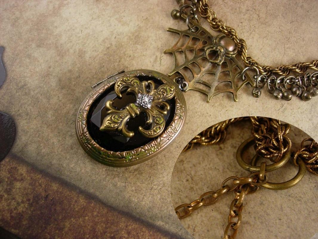 Steampunk Gothic Spider Web locket necklace Victorian Time traveler Marcasite Fleur de Lis