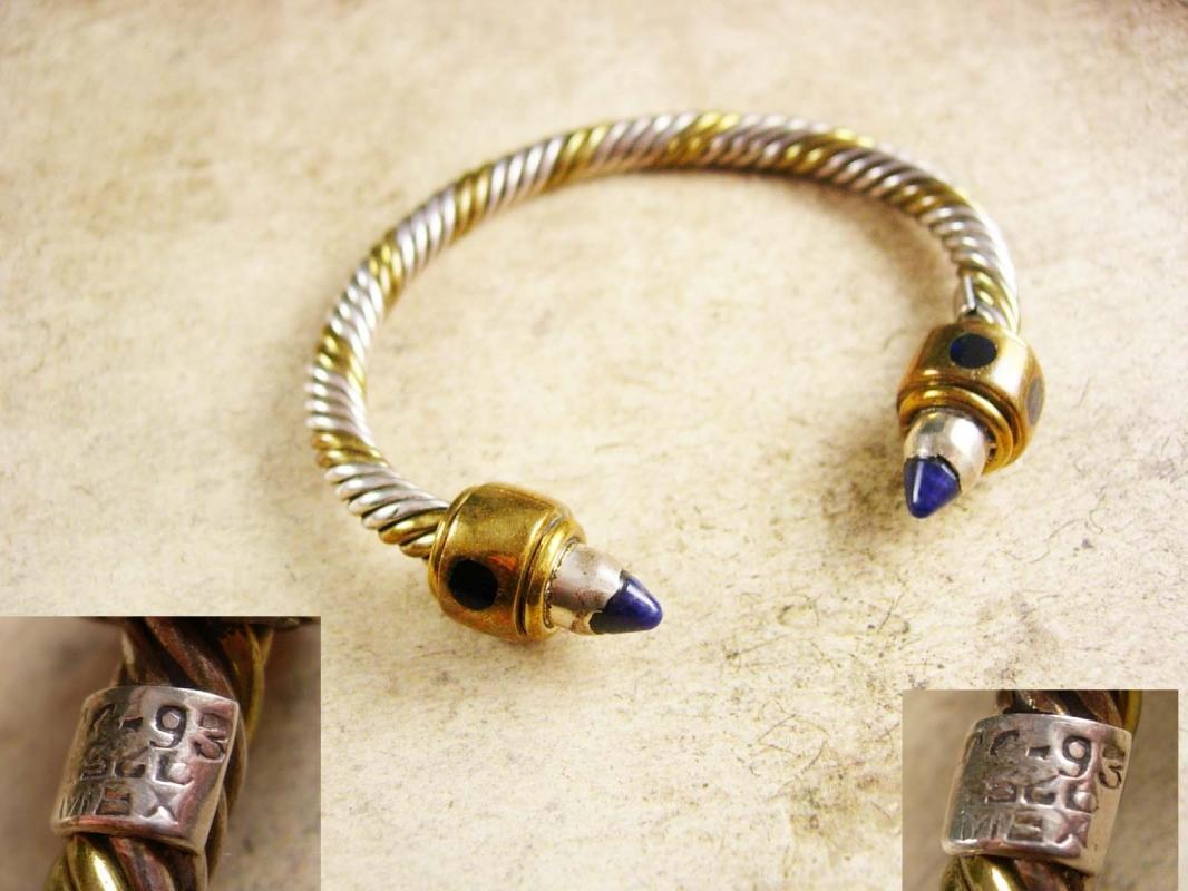 Vintage sterling Lapis lazuli Byzantine bracelet rope cuff jeweled hallmarked mexico